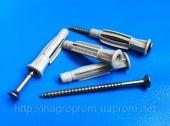 Дюбели 6х37mm  универсальные  узелковые, бурт, c универсальным шурупом, трехстороннего распора, типа ЖГУТ