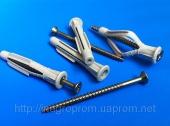 Дюбели 6х42mm  универсальные  узелковые, бурт, c универсальным шурупом, трехстороннего распора, типа ЖГУТ