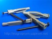 Дюбели 6х47mm  универсальные  узелковые, бурт, c универсальным шурупом, трехстороннего распора, типа ЖГУТ
