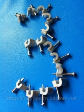 Скобы ( клипсы ) с гвоздём 3 mm круглые для крепления провода и кабеля - ISO 9001